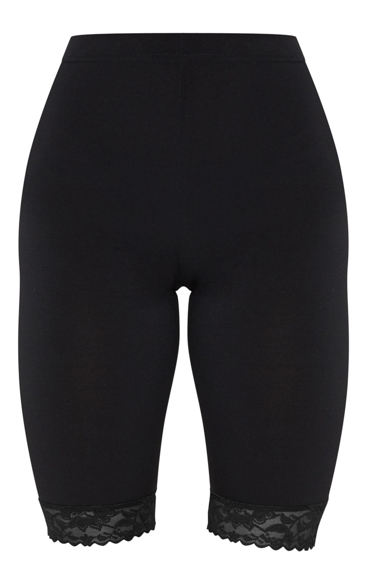 Black Lace Hem Bike Shorts 6