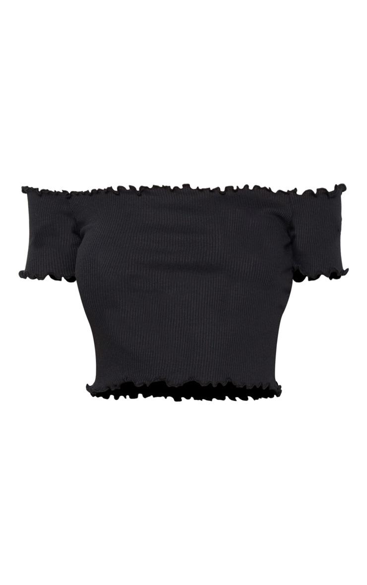 Black Short Sleeve Frill Edge Bardot Top 3