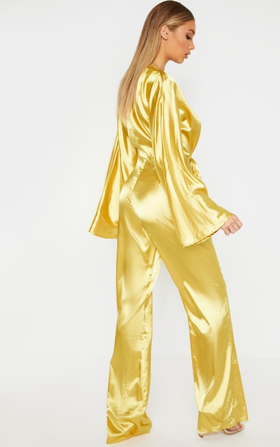 Tall Chartreuse Ruched Waist Satin Jumpsuit