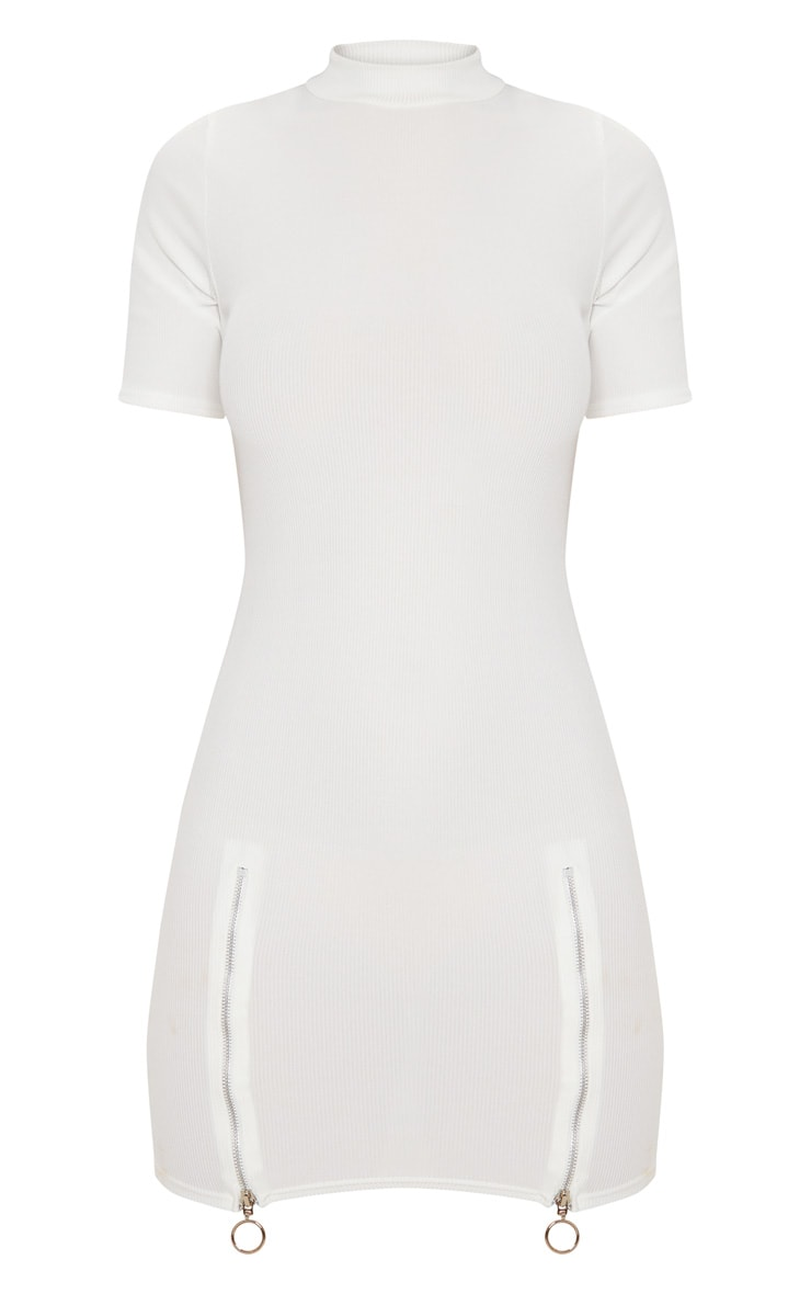 White O Ring Zip Detail Bodycon Dress 3