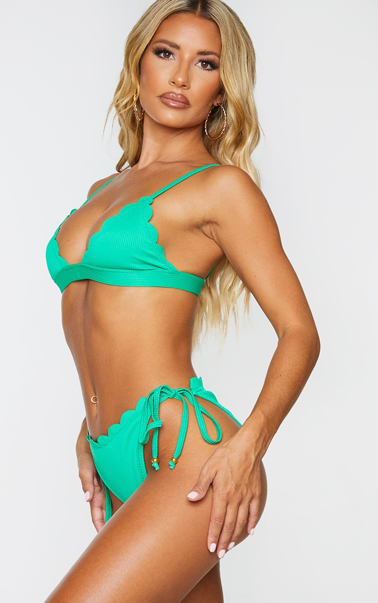 Green Ribbed Scalloped Tie Side Bikini Bottoms 2