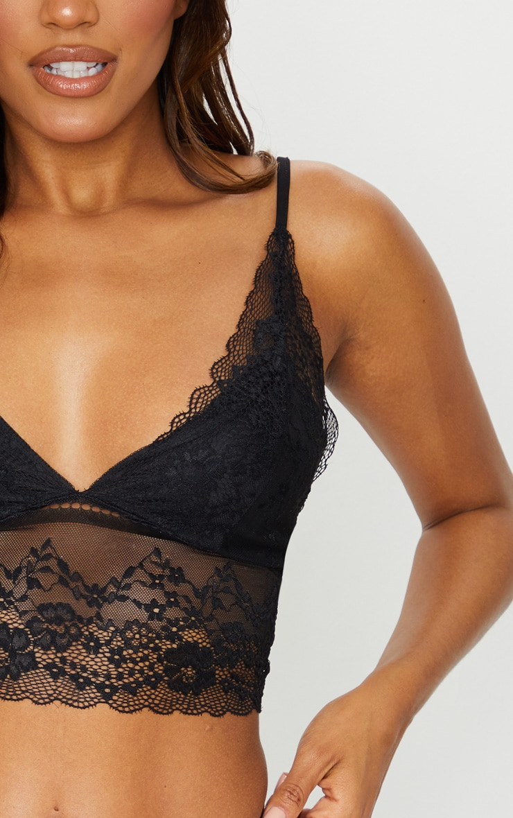 Black Lace Triangle Longline Bralet 4