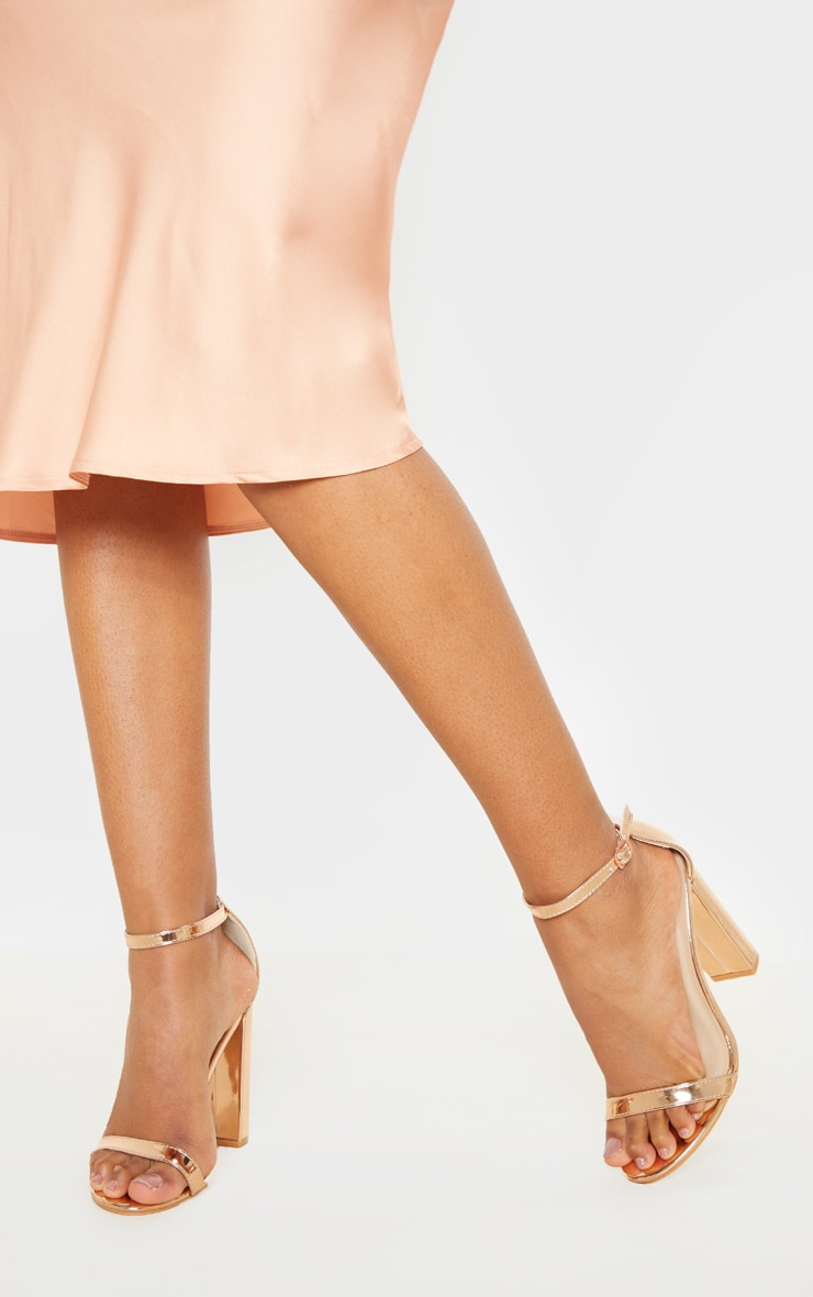 May Rose Gold Block Heeled Sandals 2