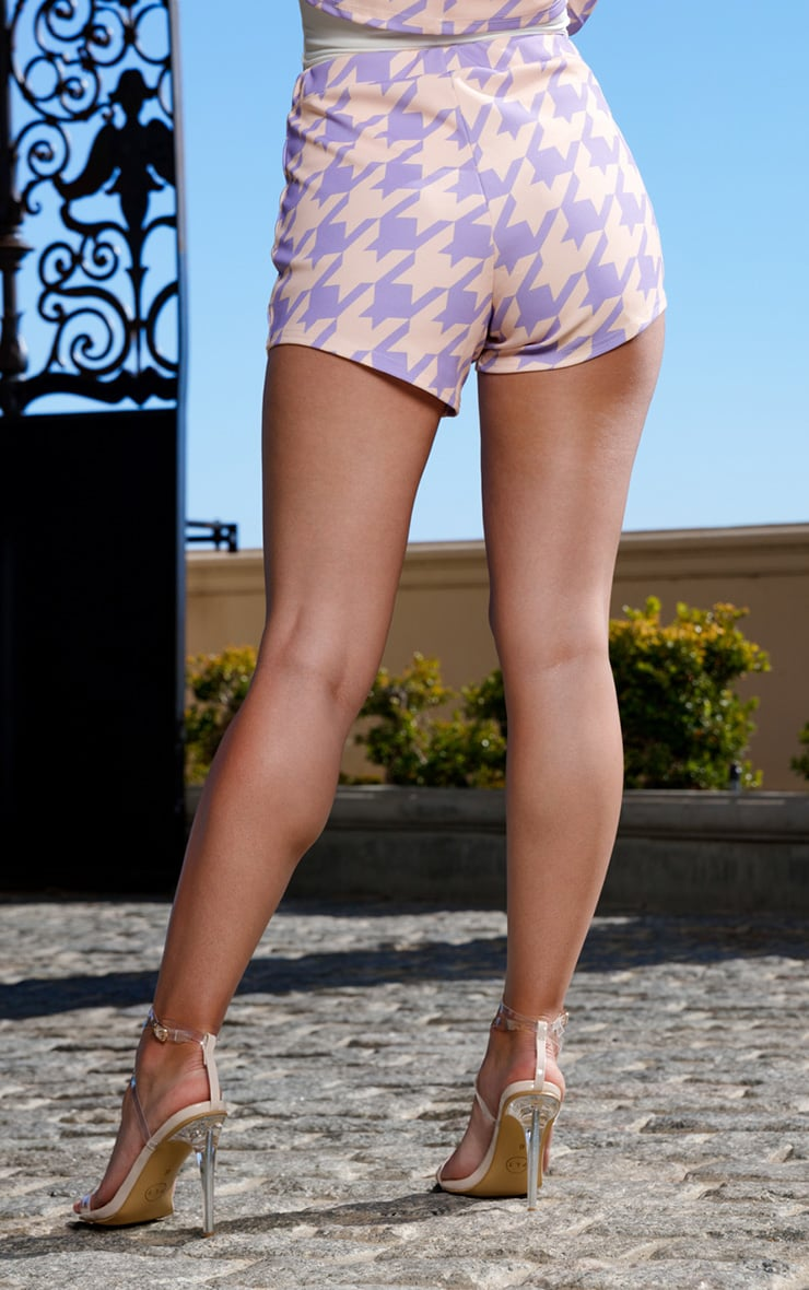 Lilac Print High Waisted Shorts 4