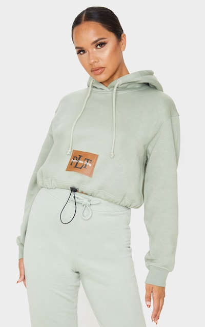PRETTYLITTLETHING Sage Khaki Pocket Toggle Crop Hoodie