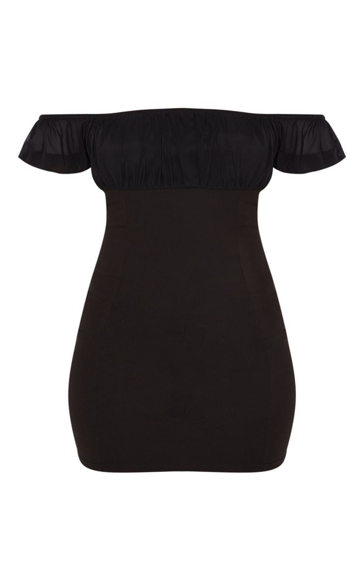 Black Ruched Bust Bardot Bodycon Dress 3