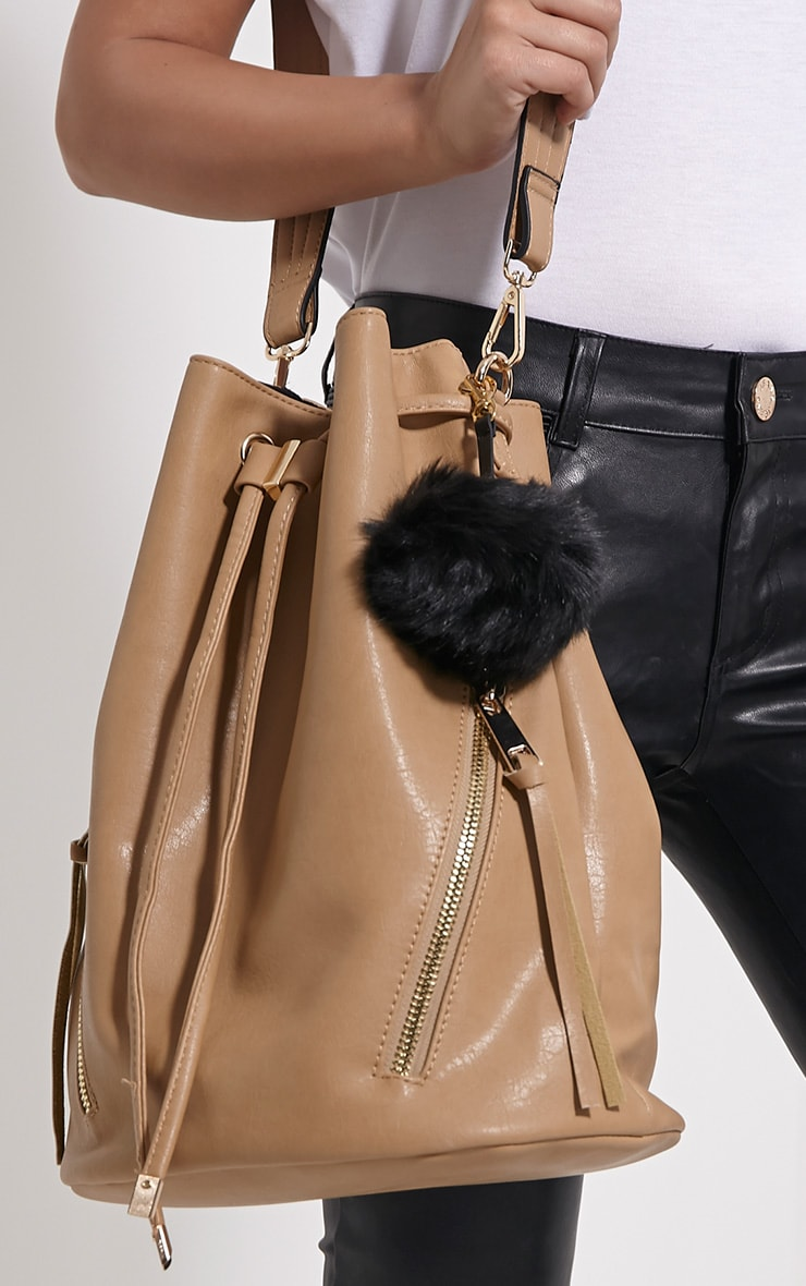Milly Black Fur Pom Pom Key Chain 1