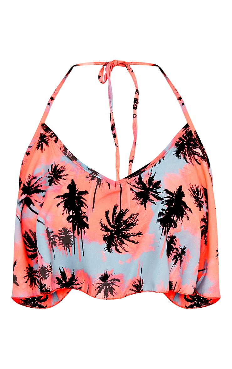 Coral Beach Palm Print Crop Top and Shorts Set  3