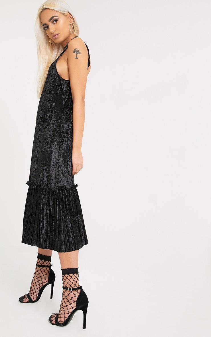 Domanica Black Velvet Frill Hem Midi Dress 1