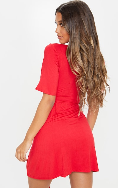 Red Tie Wrap Tea Dress