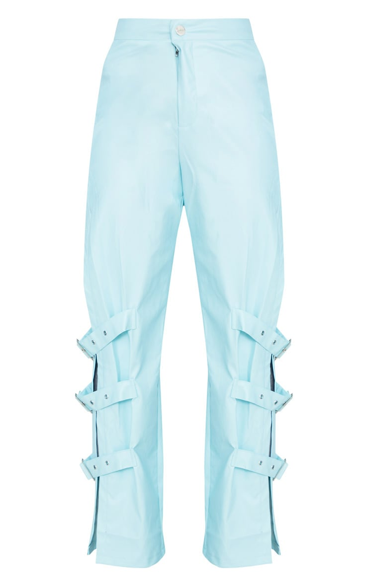 Baby Blue Faux Leather Buckle Strap Detail Trouser 3