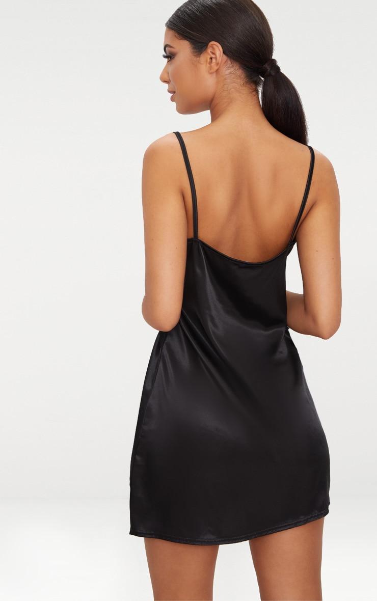 Black Satin Lace Trim Plunge Shift Dress  2