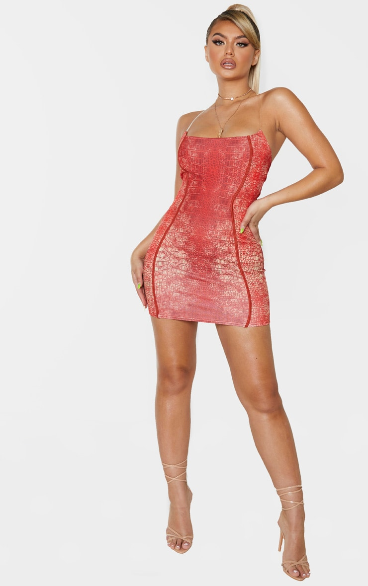 Red Snake Print Slogan Binded Detail Clear Strap Bodycon Dress 4