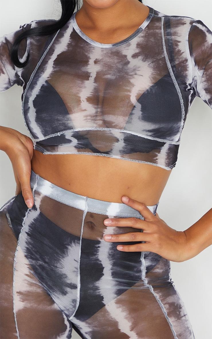 Shape Black Tie Dye Sheer Mesh Binding Detail Crop Top 4
