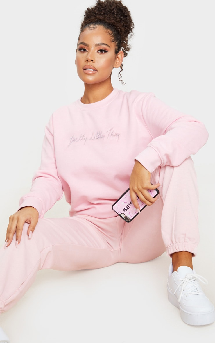 PRETTYLITTLETHING Baby Pink Diamante Graphic Sweatshirt 1