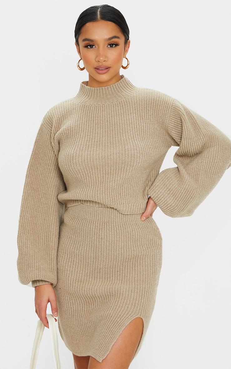 Petite Stone Oversized Balloon Sleeve Knitted Crop Sweater 1