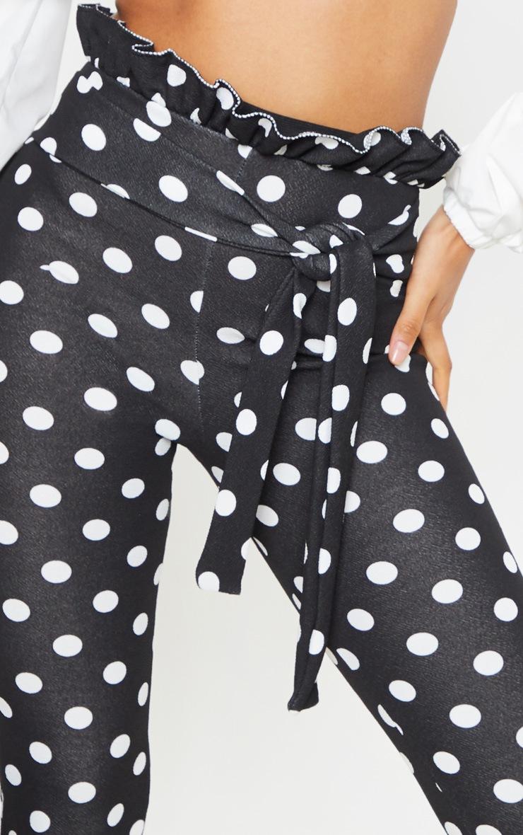 Black Polka Dot Paperbag Waist Skinny Pants 5