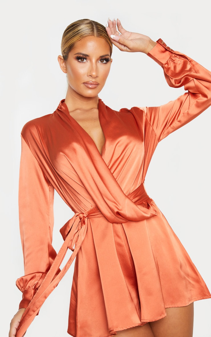 Rust Satin Drape Detail Long Sleeve Romper 5