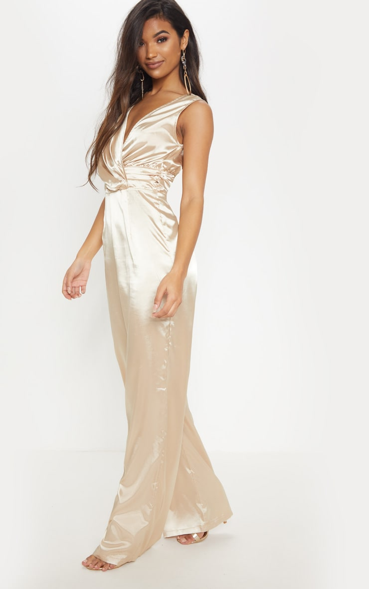 Champagne Wrap Over Ruched Waist Jumpsuit 4