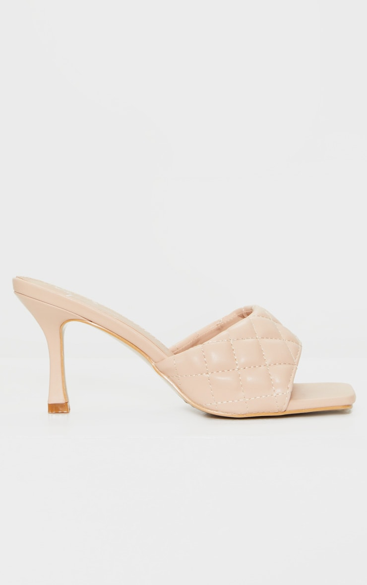 Beige Quilted Square Toe Low Heel Mule 3