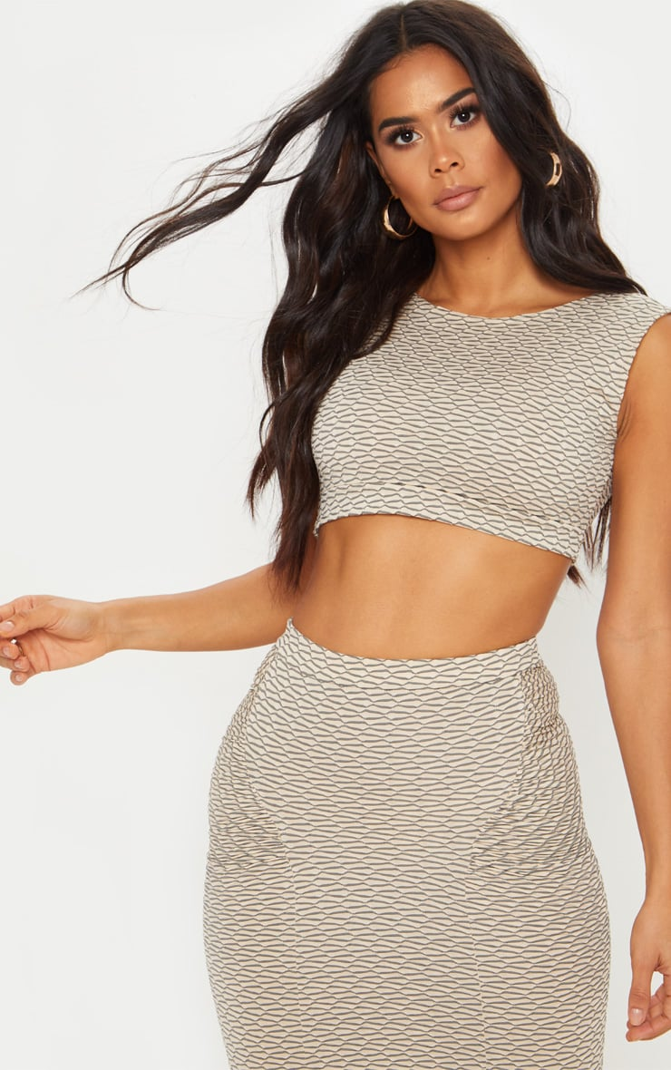 Grey Textured High Neck Crop Top