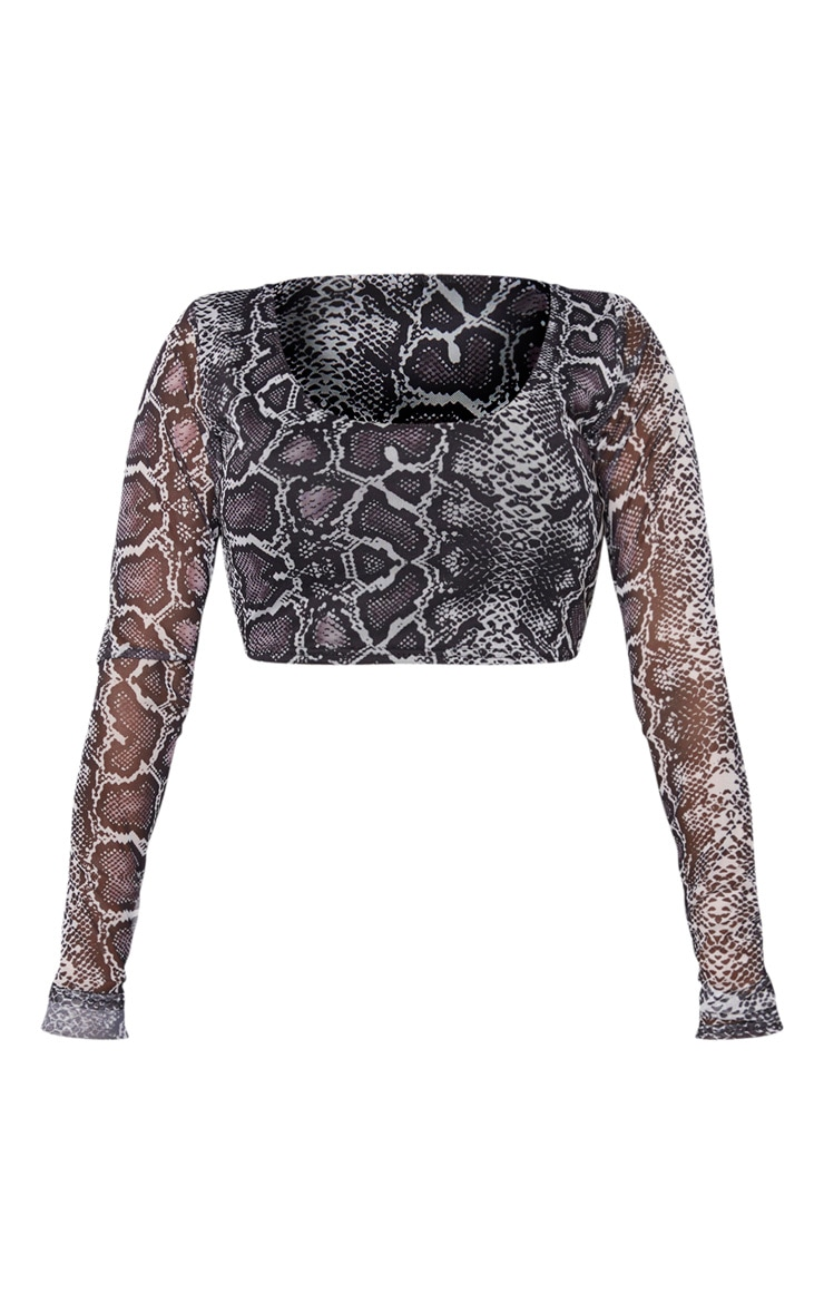 Shape Taupe Snake Print Mesh Long Sleeve Crop Top 3