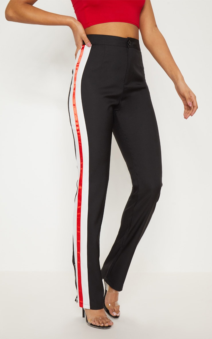 Black Tailored Side Stripe Straight Leg Trouser 2