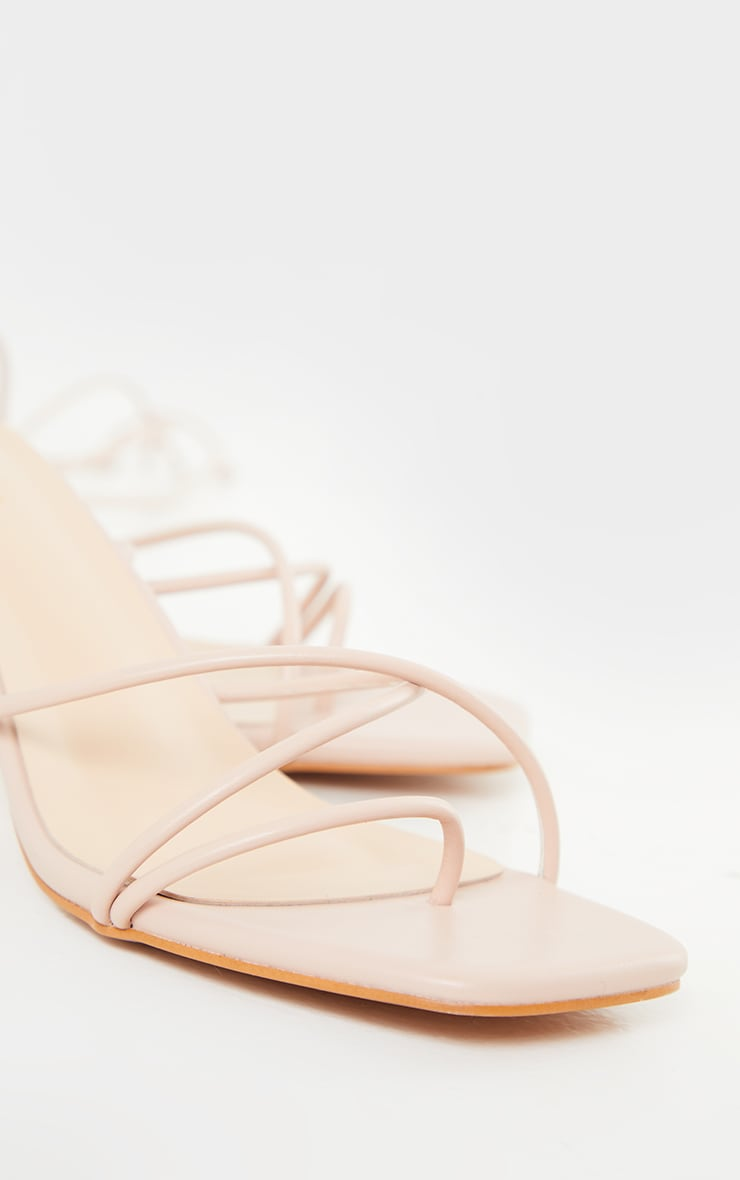 Blush Strappy Lace Up Low Heel Sandals 3