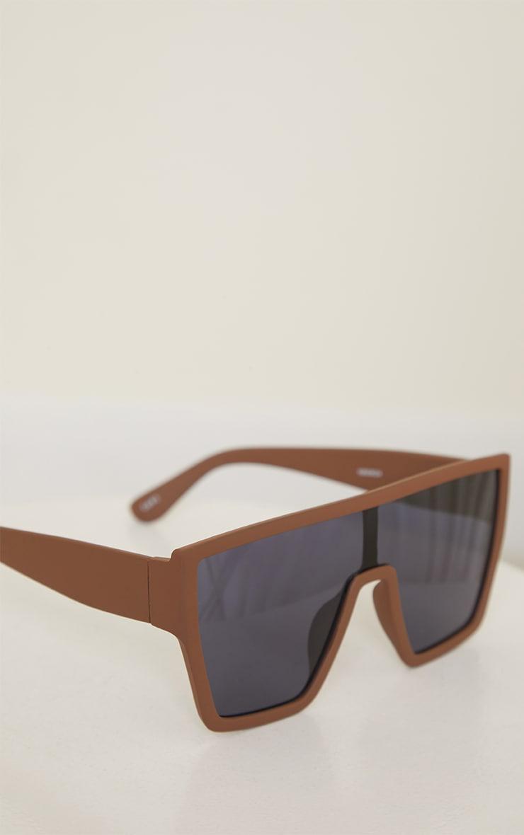 Chocolate Matte Oversized Square Frame Sunglasses 2