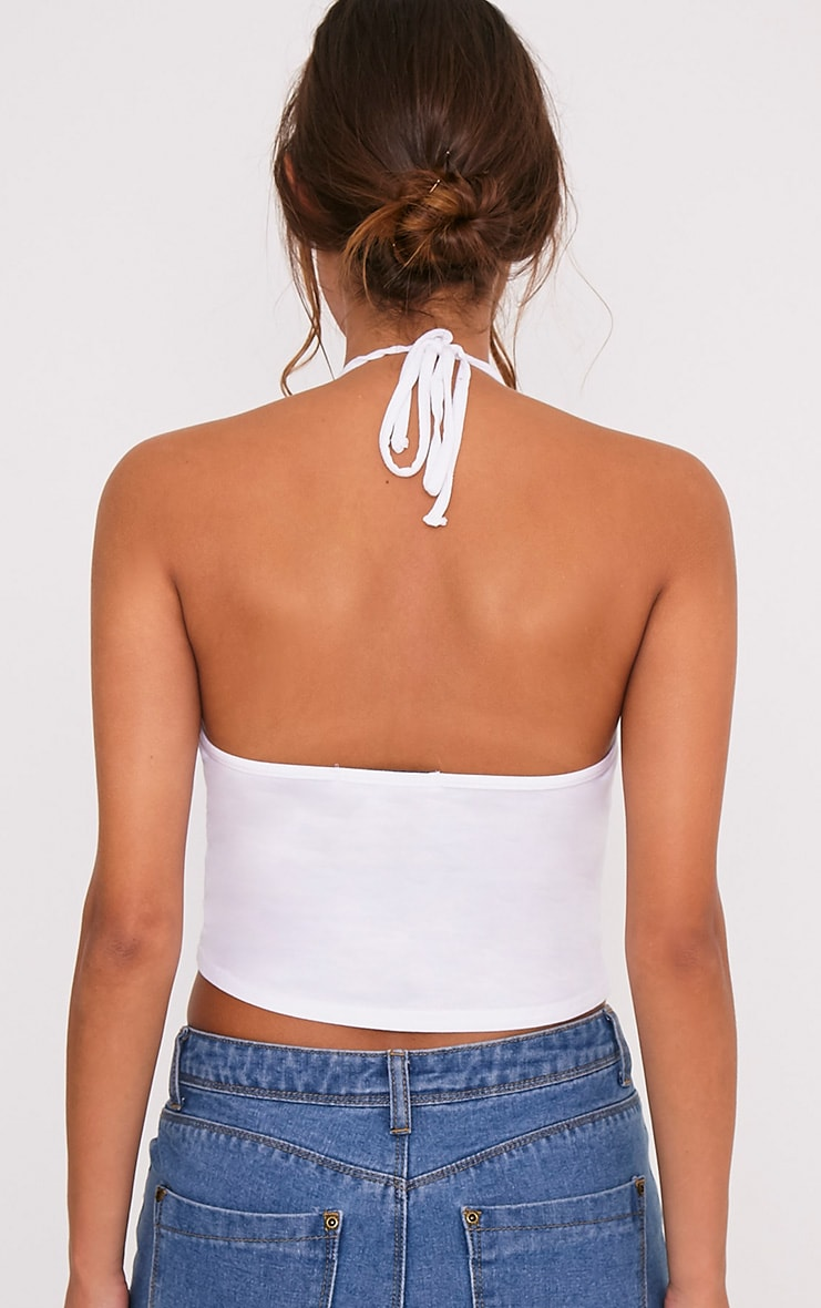 White Halterneck Crop Top 2