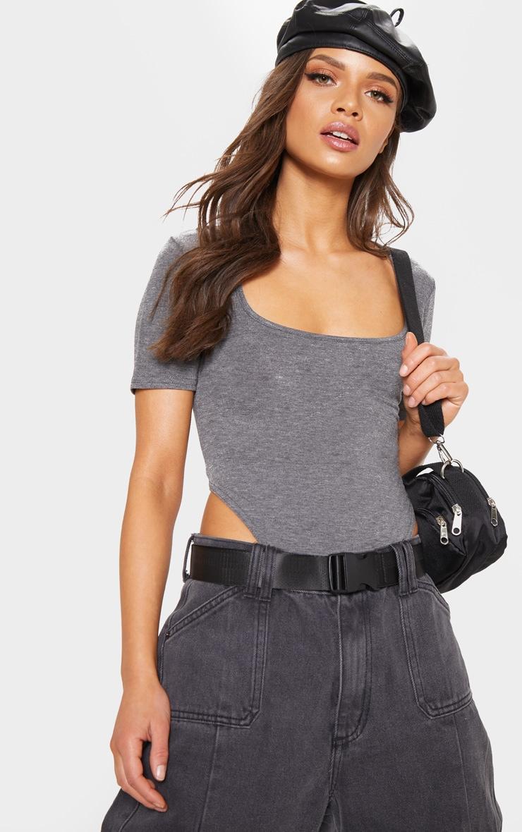 Charcoal Grey Jersey Short Sleeve Scoop Neck Bodysuit 1