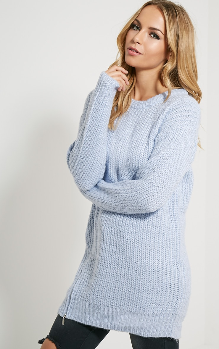 Lilja Chalk Blue Zip Detail Jumper 4