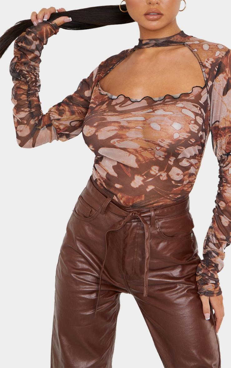 Brown Mesh Butterfly Renaissance Print Cut Out Front Bodysuit 4