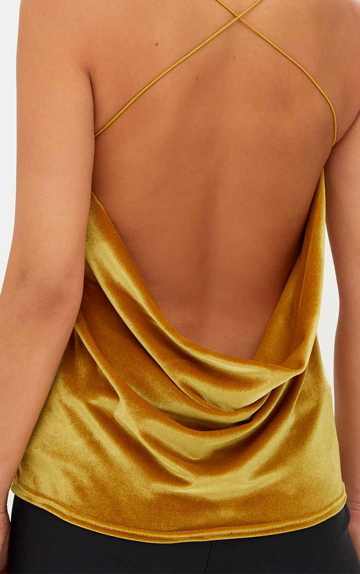 Mustard Velvet Scoop Back Strappy Cami 5