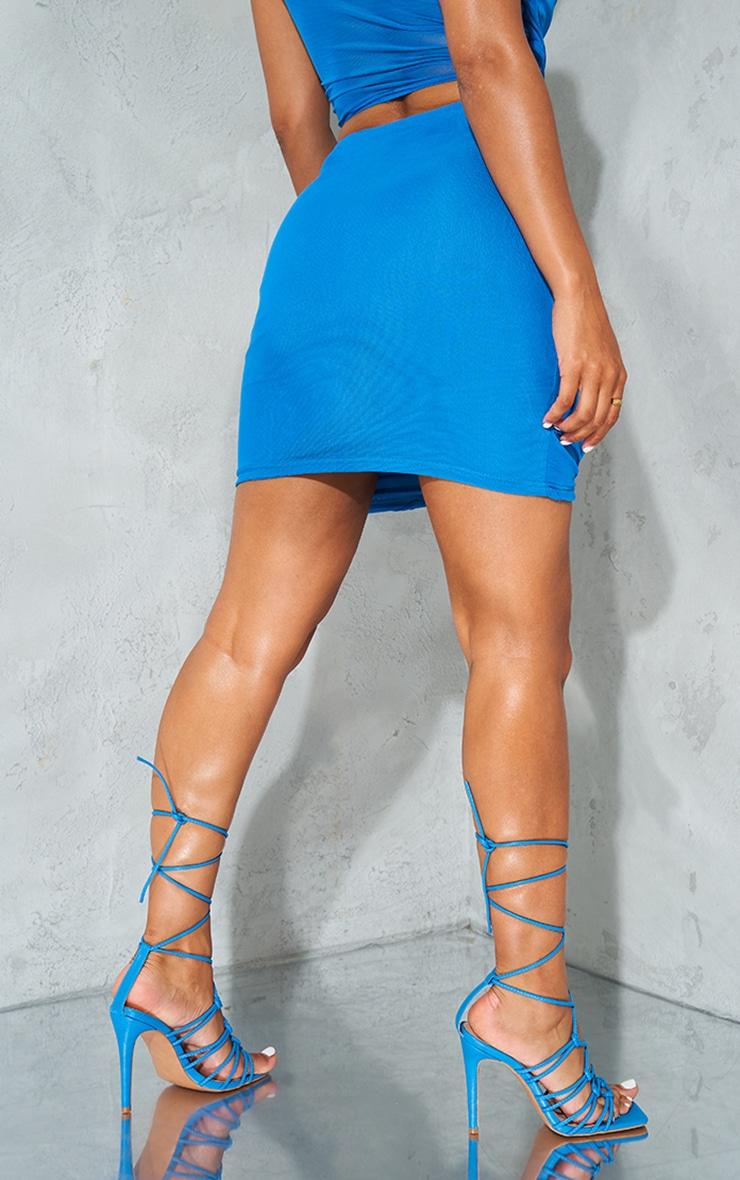 Bright Blue Sheer Mesh Cut Out Mini Skirt 3