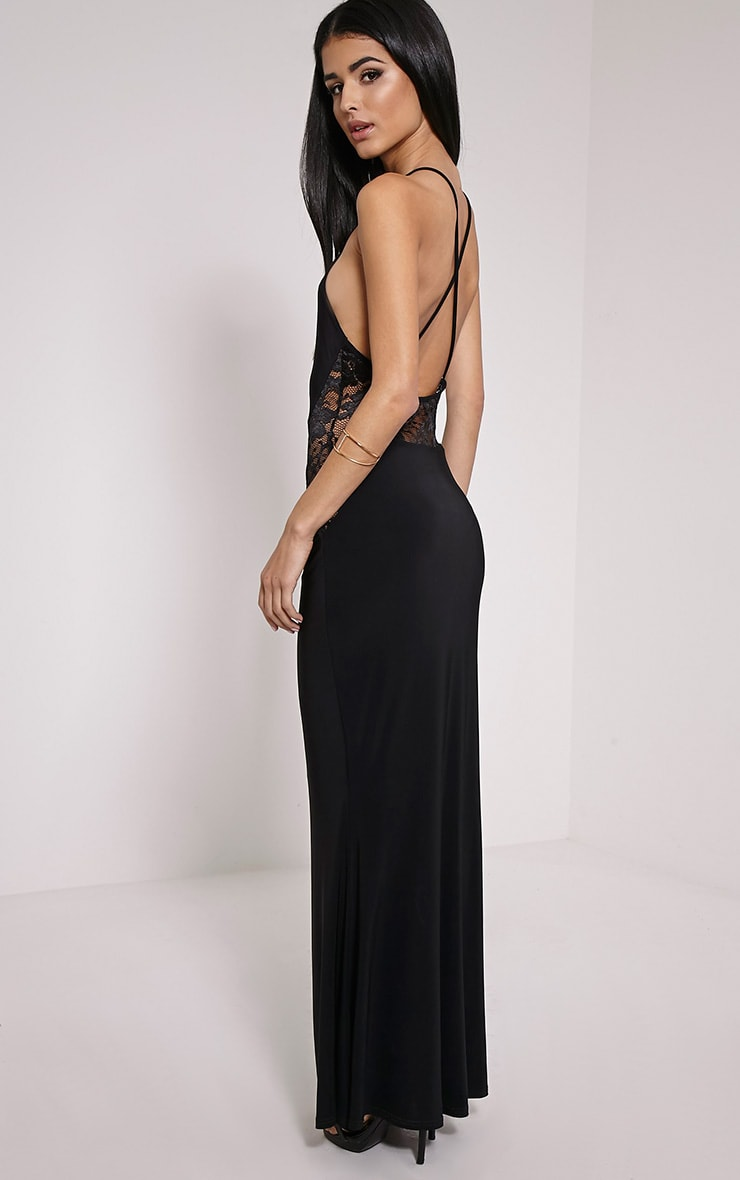 Lina Black Lace Insert Maxi Dress 4