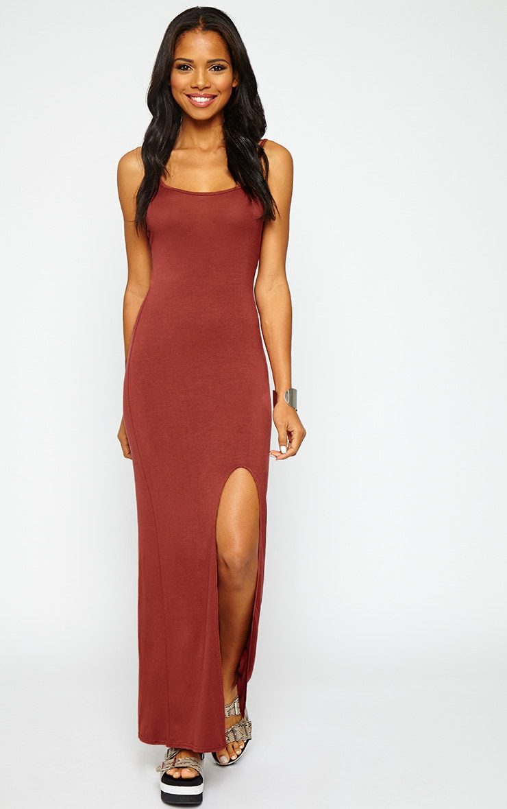 Aurelia Rust Front Slit Cami Maxi Dress 1