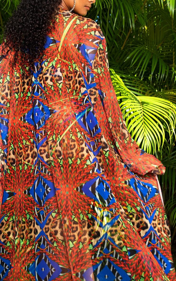Plus Multi Mixed Jungle Print Mesh Kimono 5