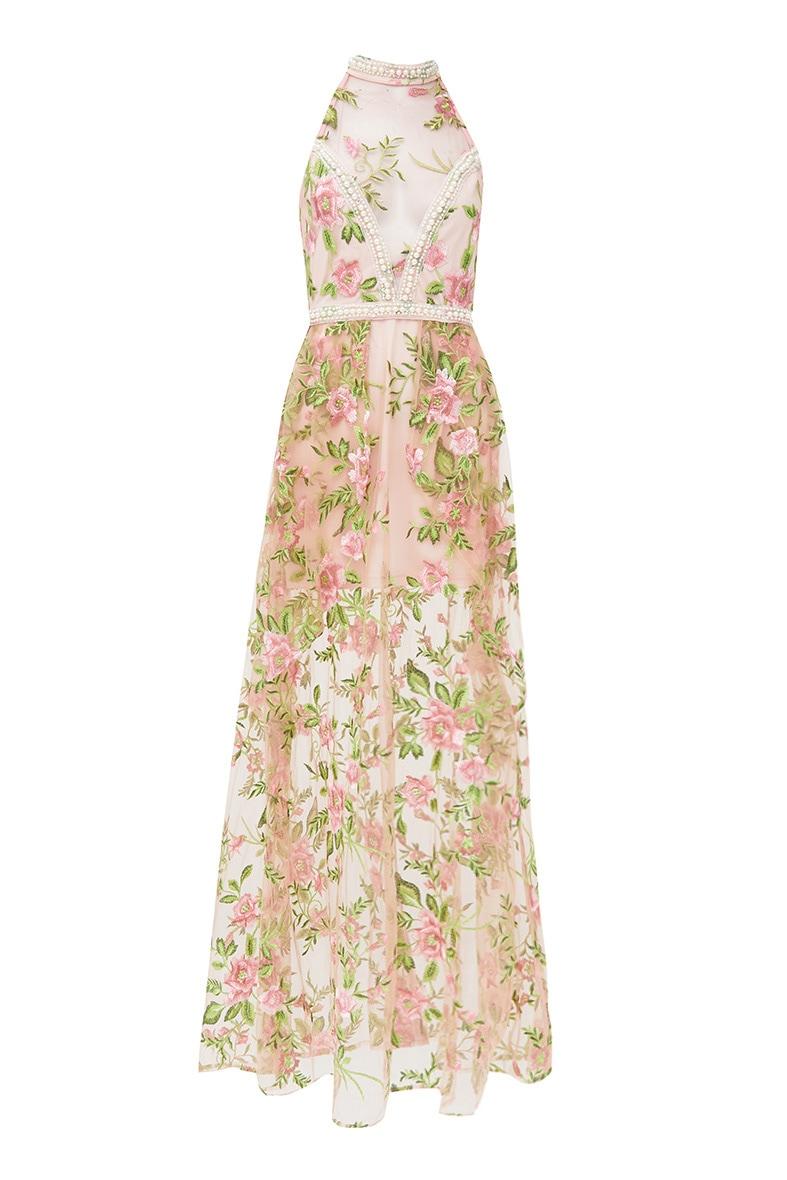 Premium Blush Embroidered Lace Maxi Dress 4