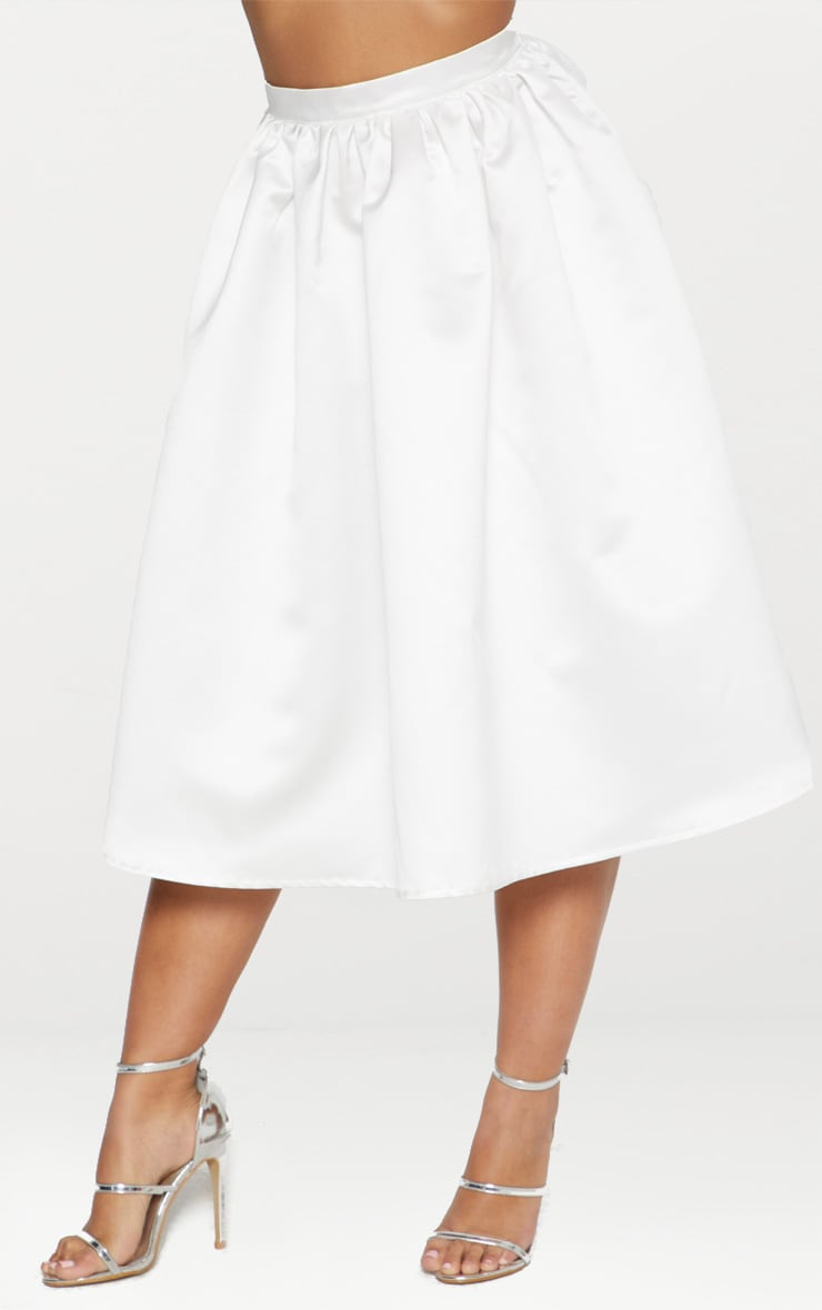 White Satin Full Midi Skirt  2