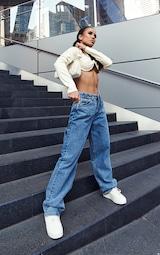 Vintage Wash Extreme Bum Split Baggy Boyfriend Jeans 1