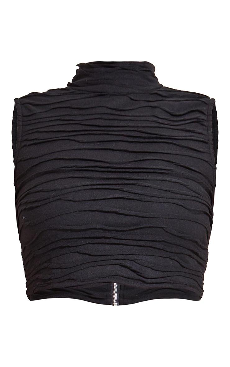Crop top sans manches en jersey noir à col haut et plis 5