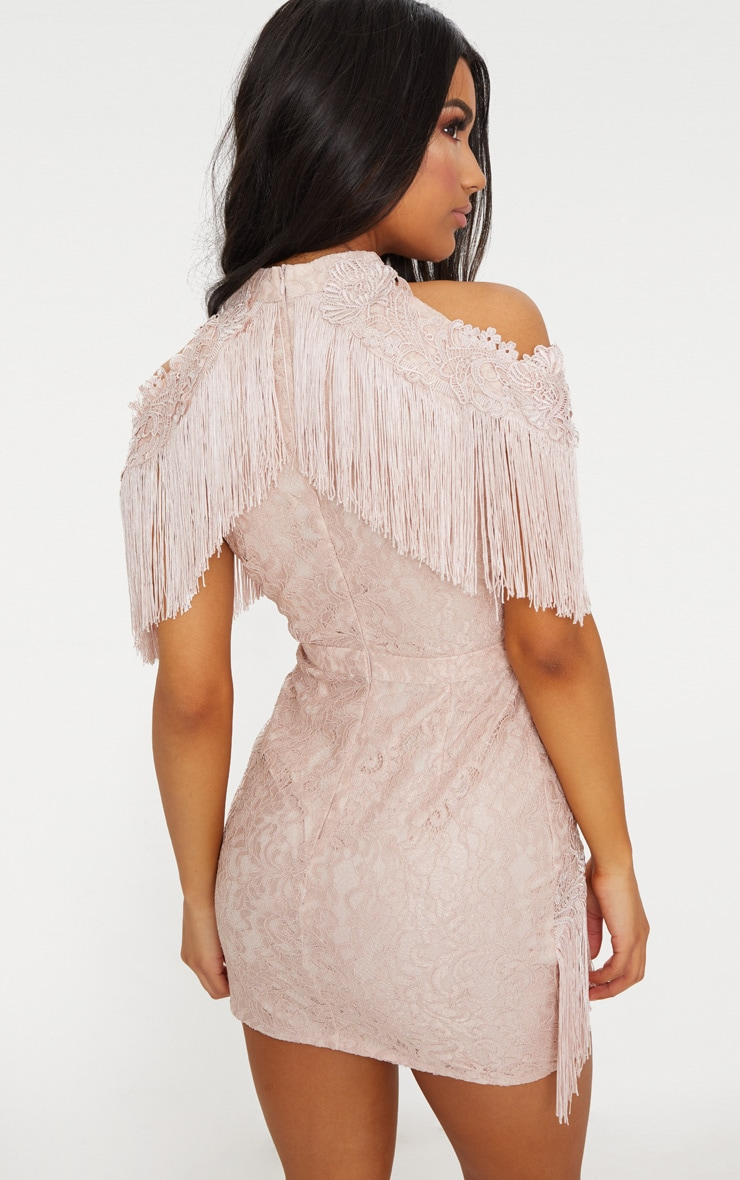 Dusty Pink Cold Shoulder Lace Tassel Trim Bodycon Dress 2