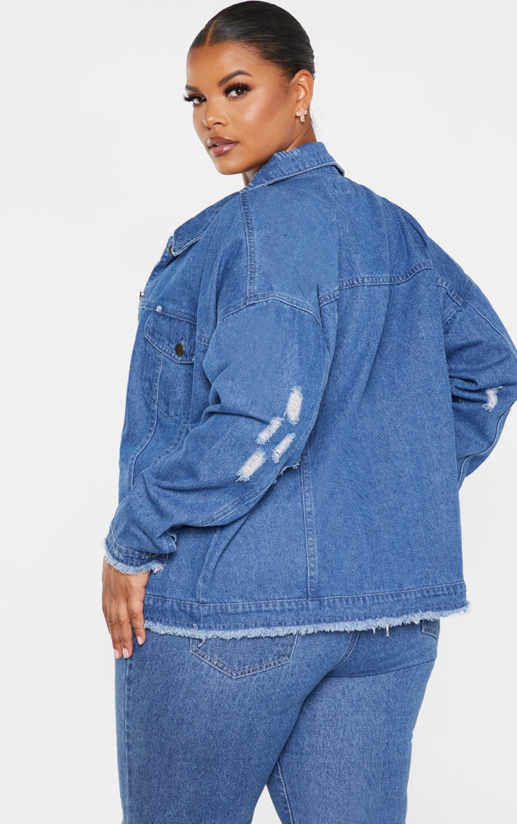 Plus Mid Wash Distressed Oversized Denim Jacket 2
