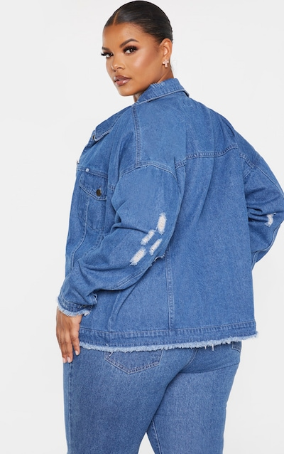 Plus Mid Wash Distressed Oversized Denim Jacket