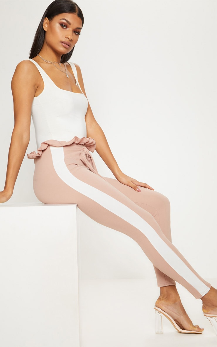Stone Side Stripe Paperbag Skinny Trousers 1