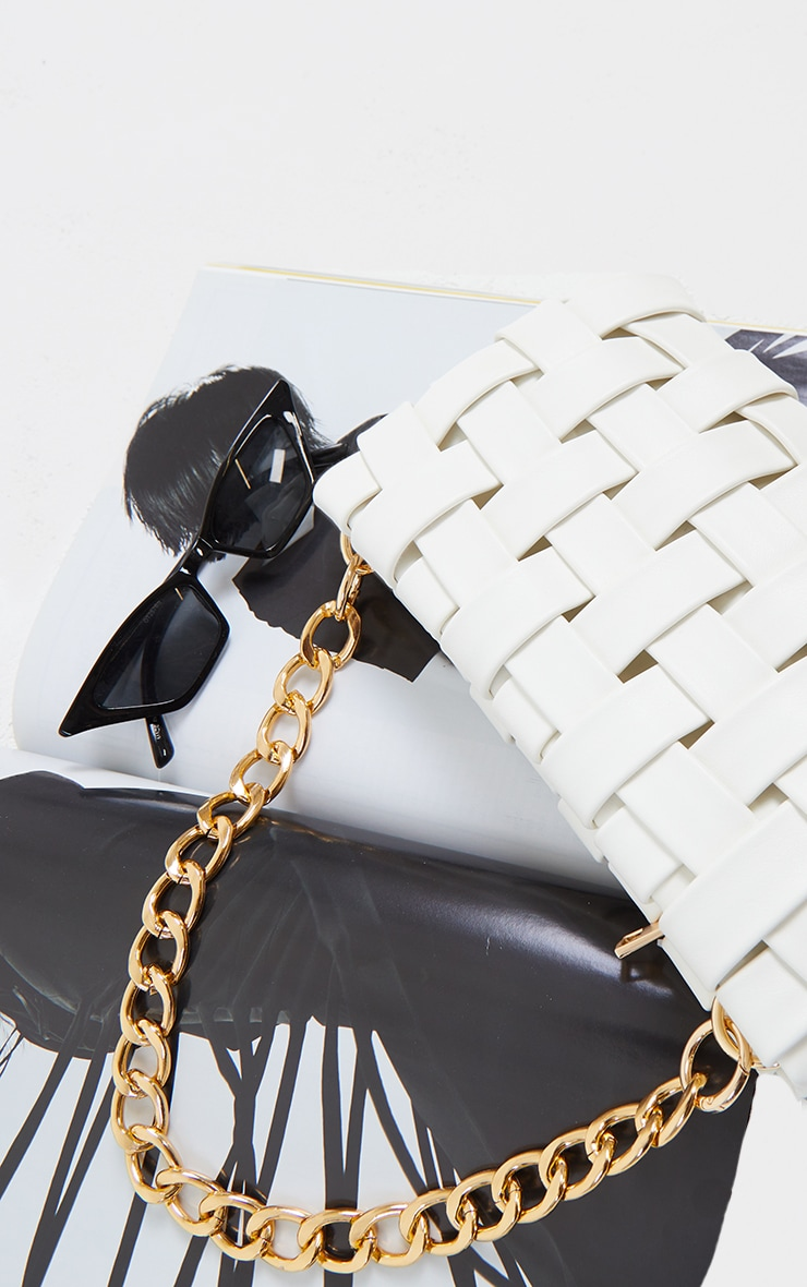 White Oversized Weave With Gold Chain Shoulder Bag 2