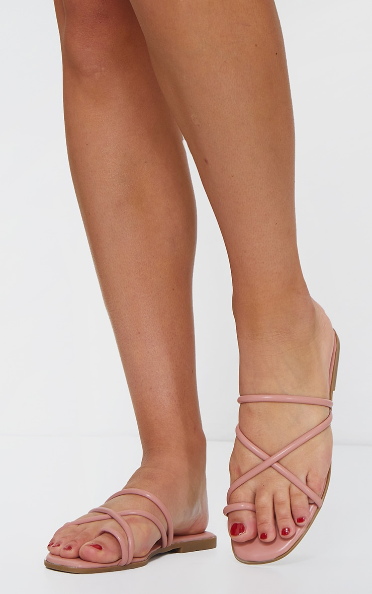 Pink Strappy Toe Loop Sandal 1