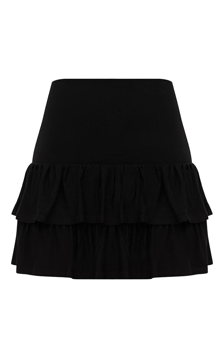 Black Tiered Frill Jersey Mini Skirt 3
