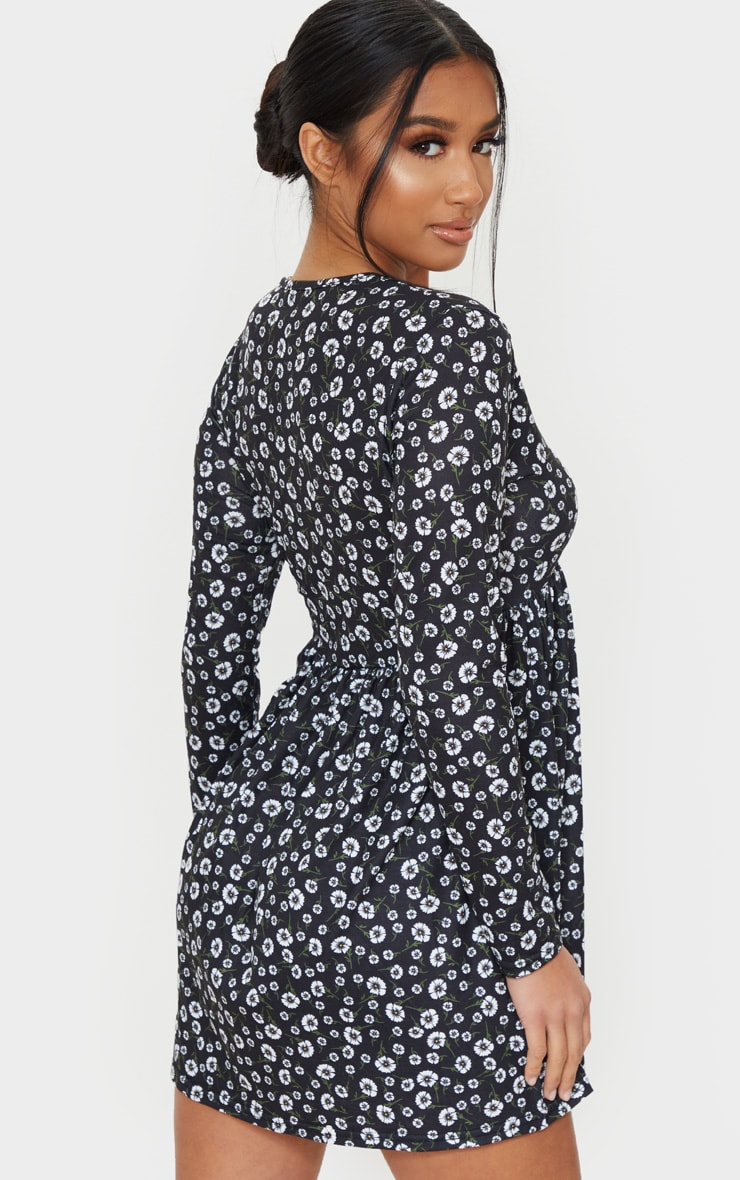 Petite Black Ditsy Floral Long Sleeve Smock Dress 2